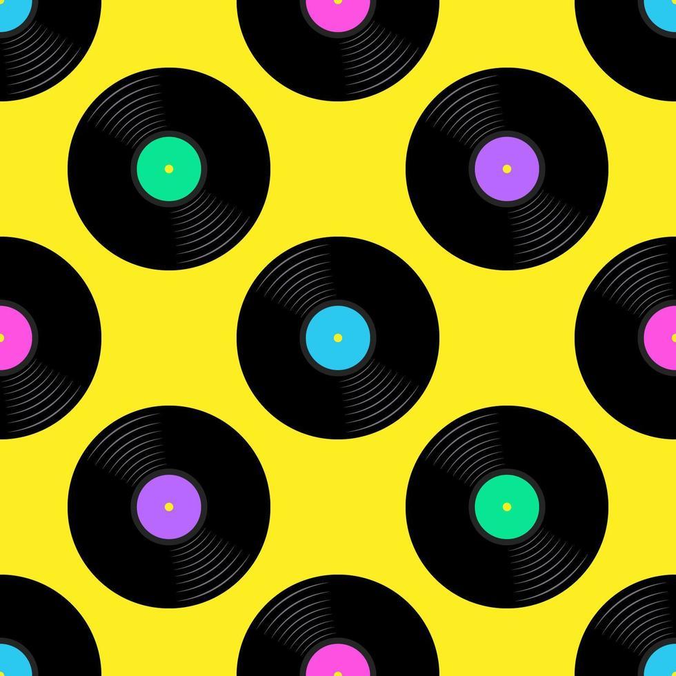 Disques vinyle Seamless Pattern vecteur