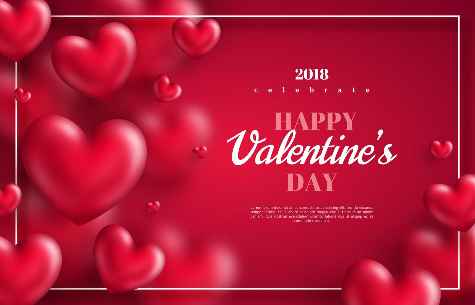 hearts on red background with thin frame vector
