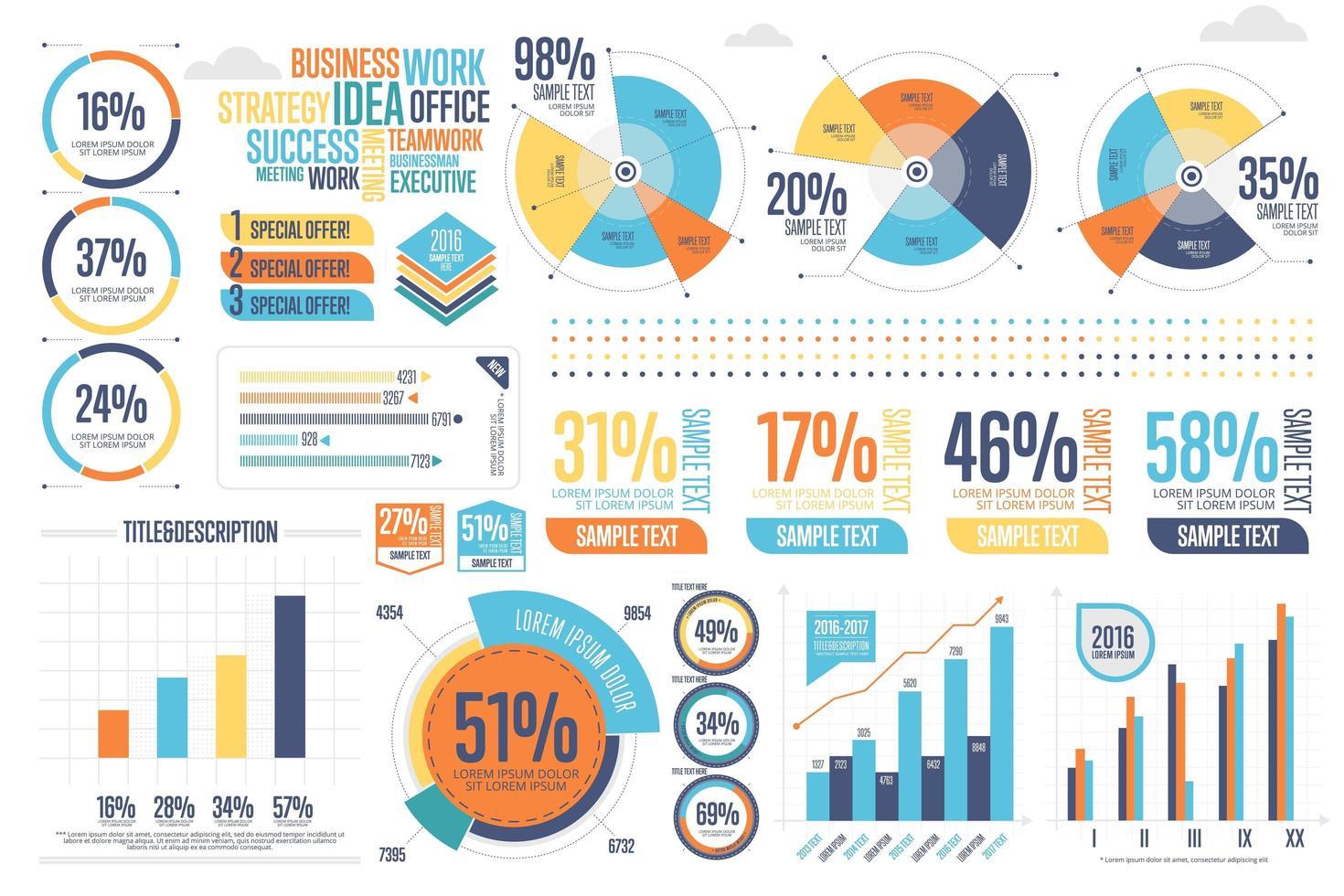 Zakelijke infographics instellen met ander diagram vector