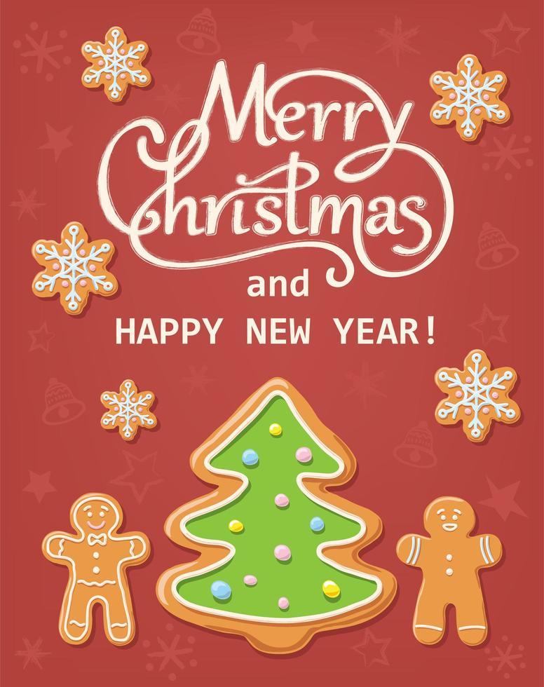 Weihnachtskarte mit Lebkuchen vektor
