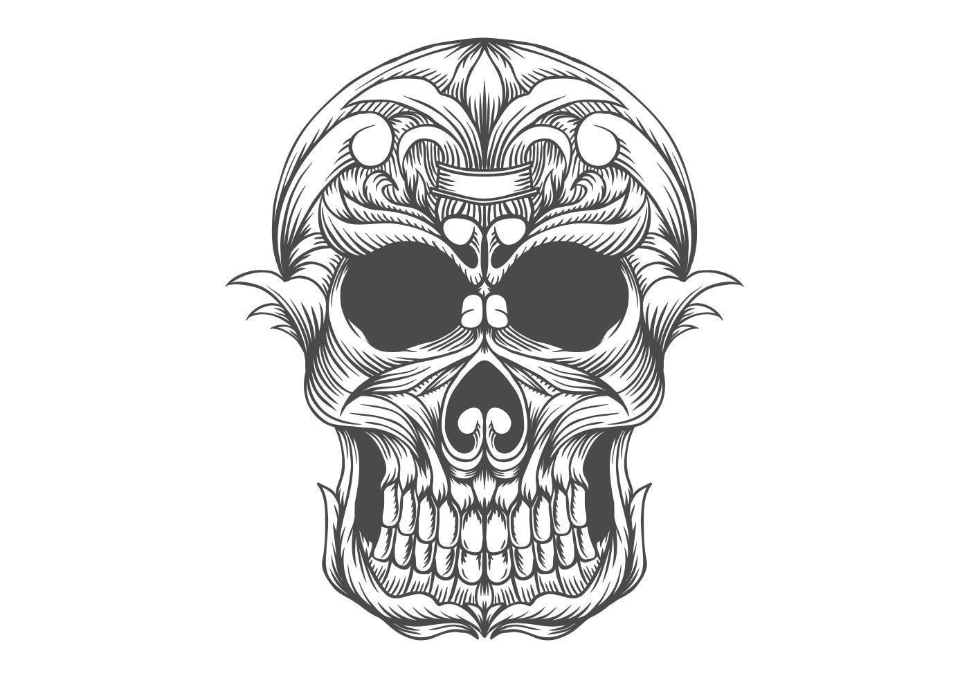 Desenho De Cabeca De Caveira Preto E Branco Download Vetores
