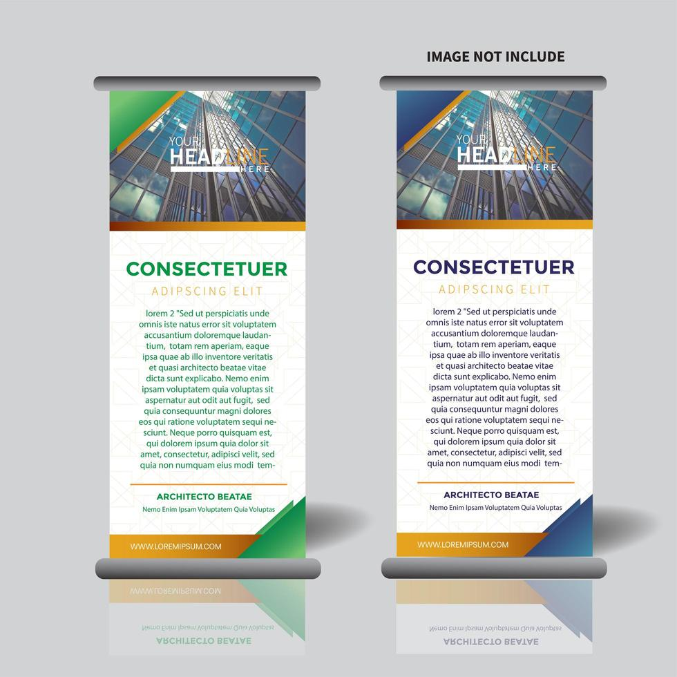 Vertikale Banner Vorlage mit Dreieck-Design aufrollen vektor