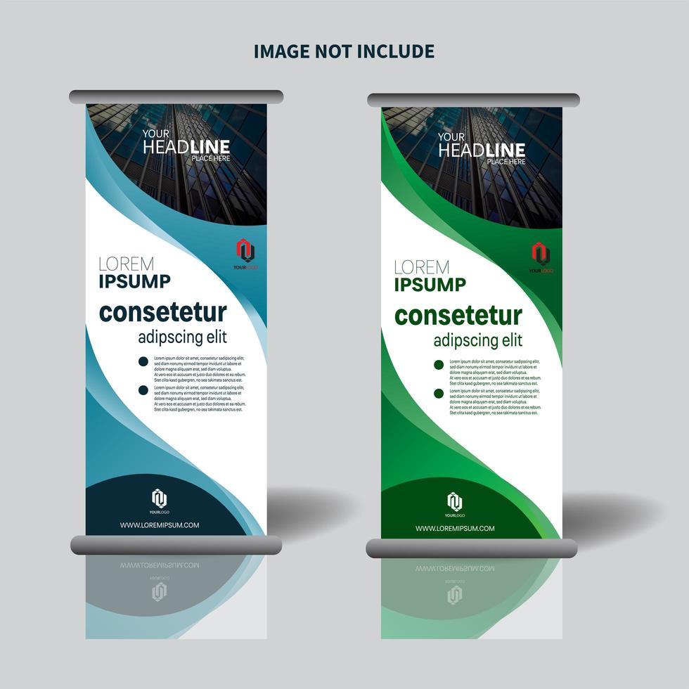Werbe vertikale Banner-Design mit geschwungenem Design vektor