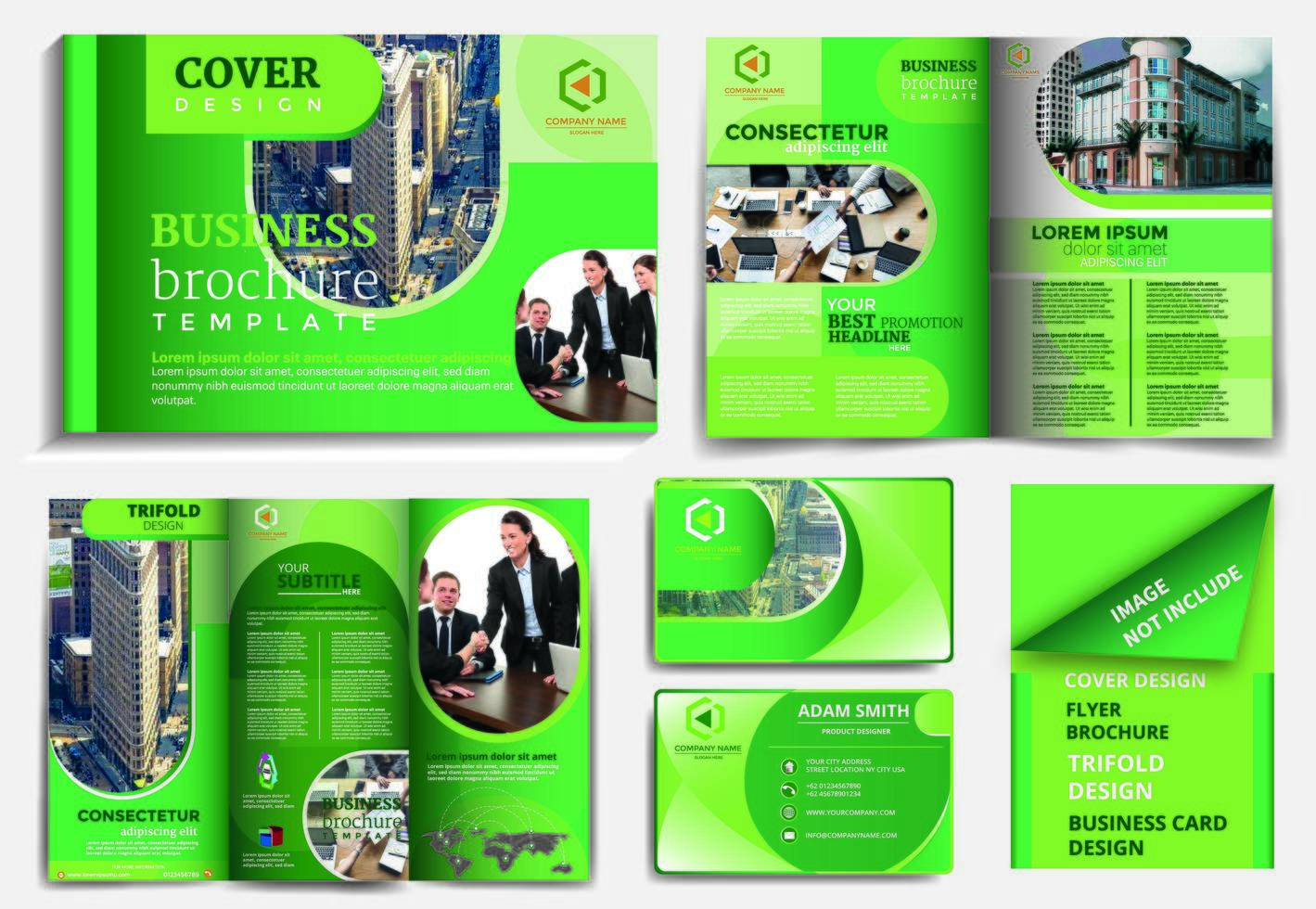 green rounded design brochure template set vector