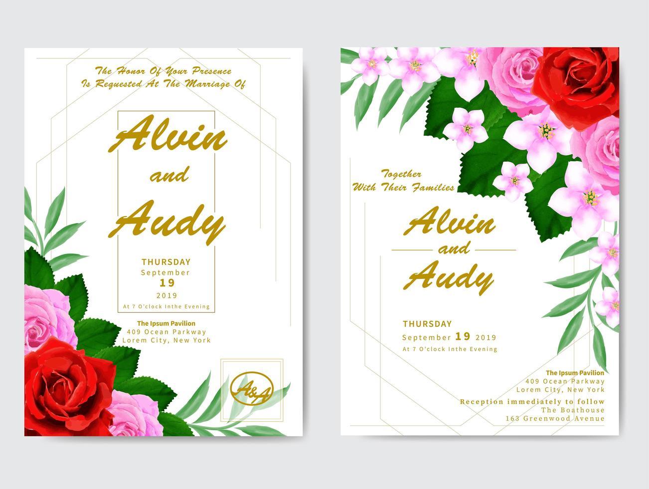 invitación de boda floral acuarela vector
