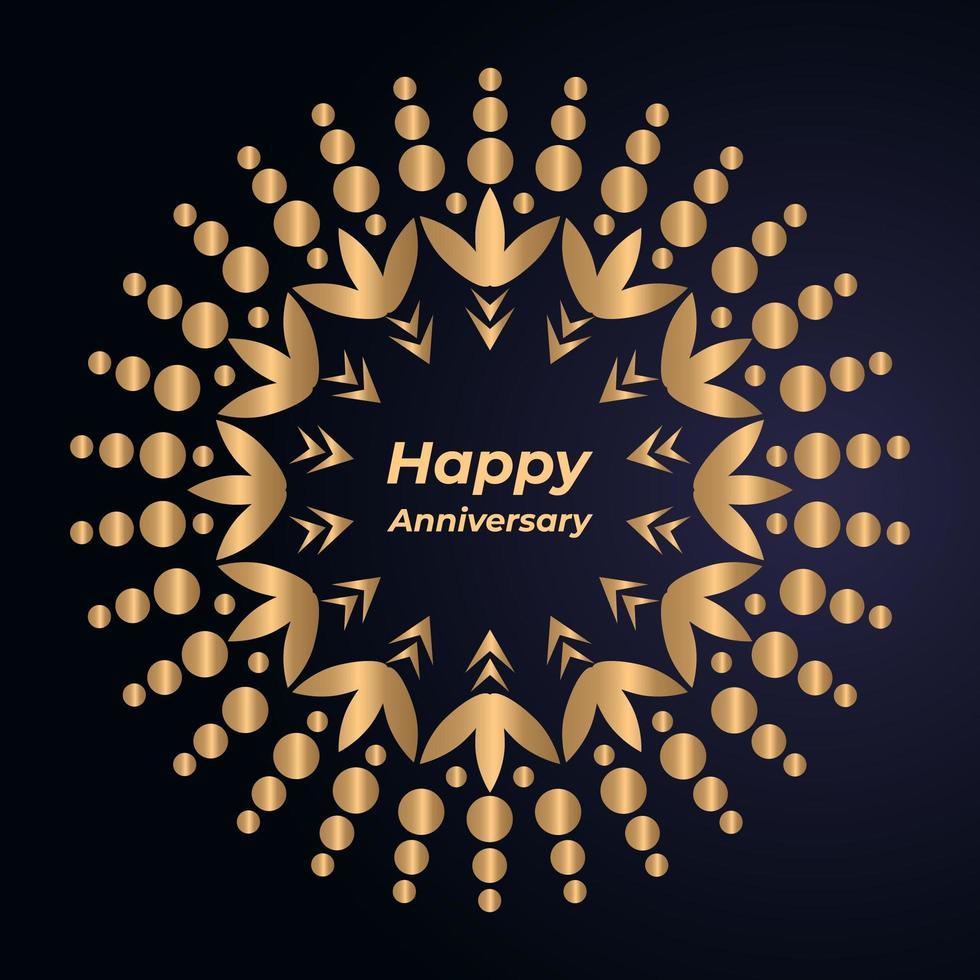 Diseño de mandala de feliz aniversario vector