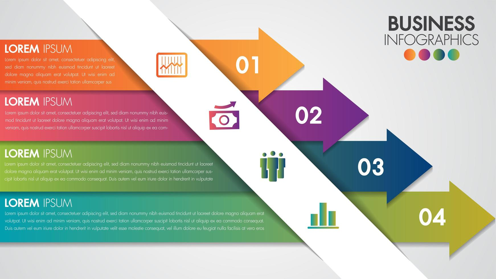 Infografia design minimalista modelo moderno com 4 opções de seta