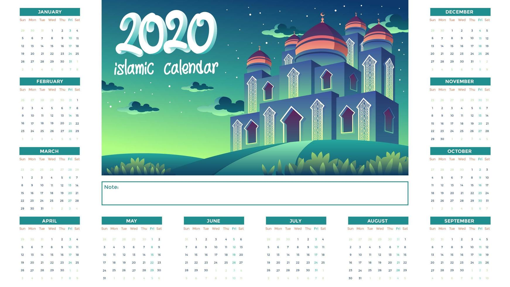 2020 Islamic Calendar With Green Mosque At Night vector