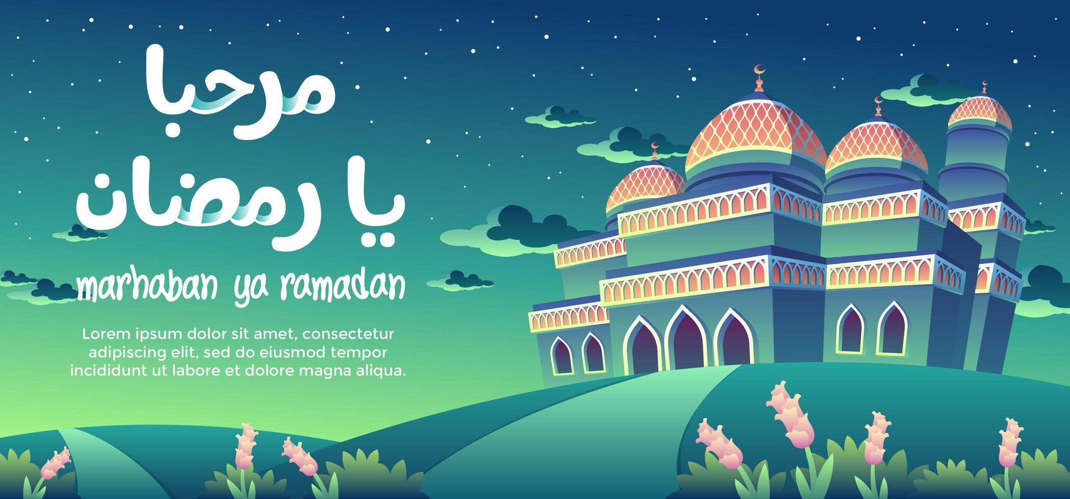 Marhaban Ya Ramadan With The Orange Pattern Green Mosque At Night vector