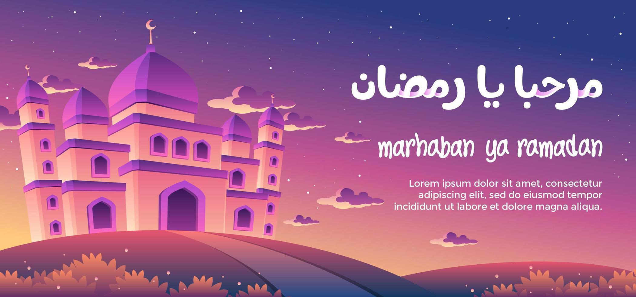Marhaban Ya Ramadan With A Magnificent Mosque At Dusk vector