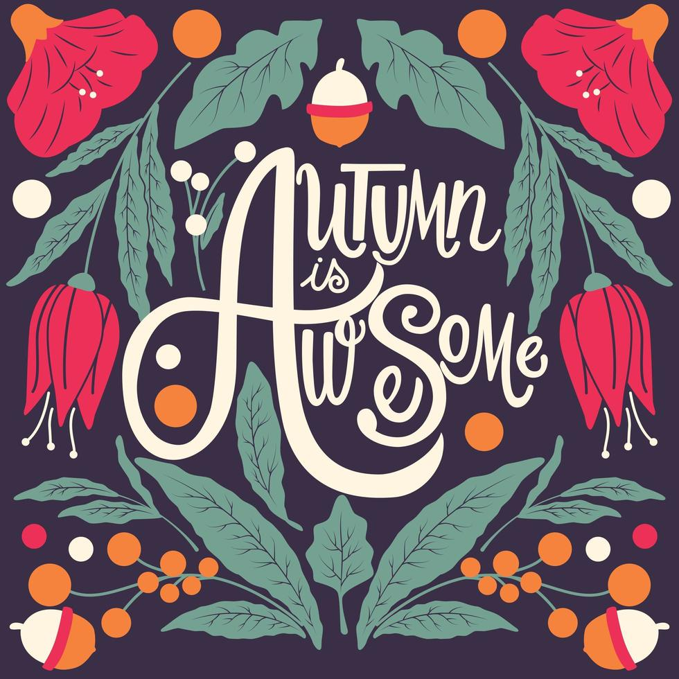 L'autunno è un fantastico poster con scritte a mano vettore