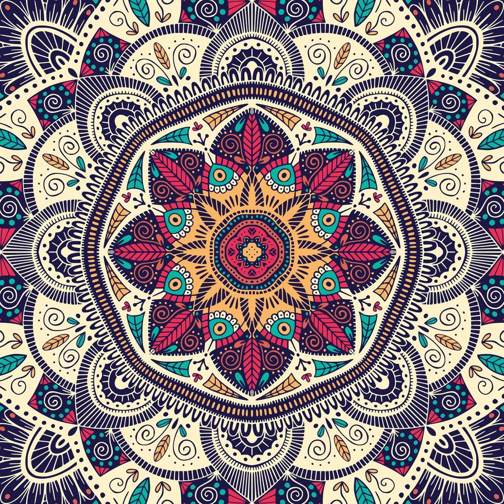 Mandala floral ornamental colorido vector