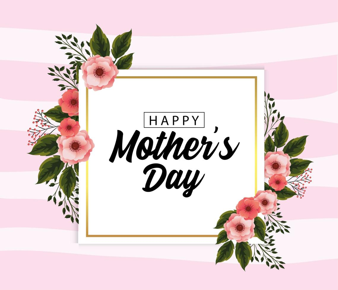 Mothers day card with tropical flowers plants vector