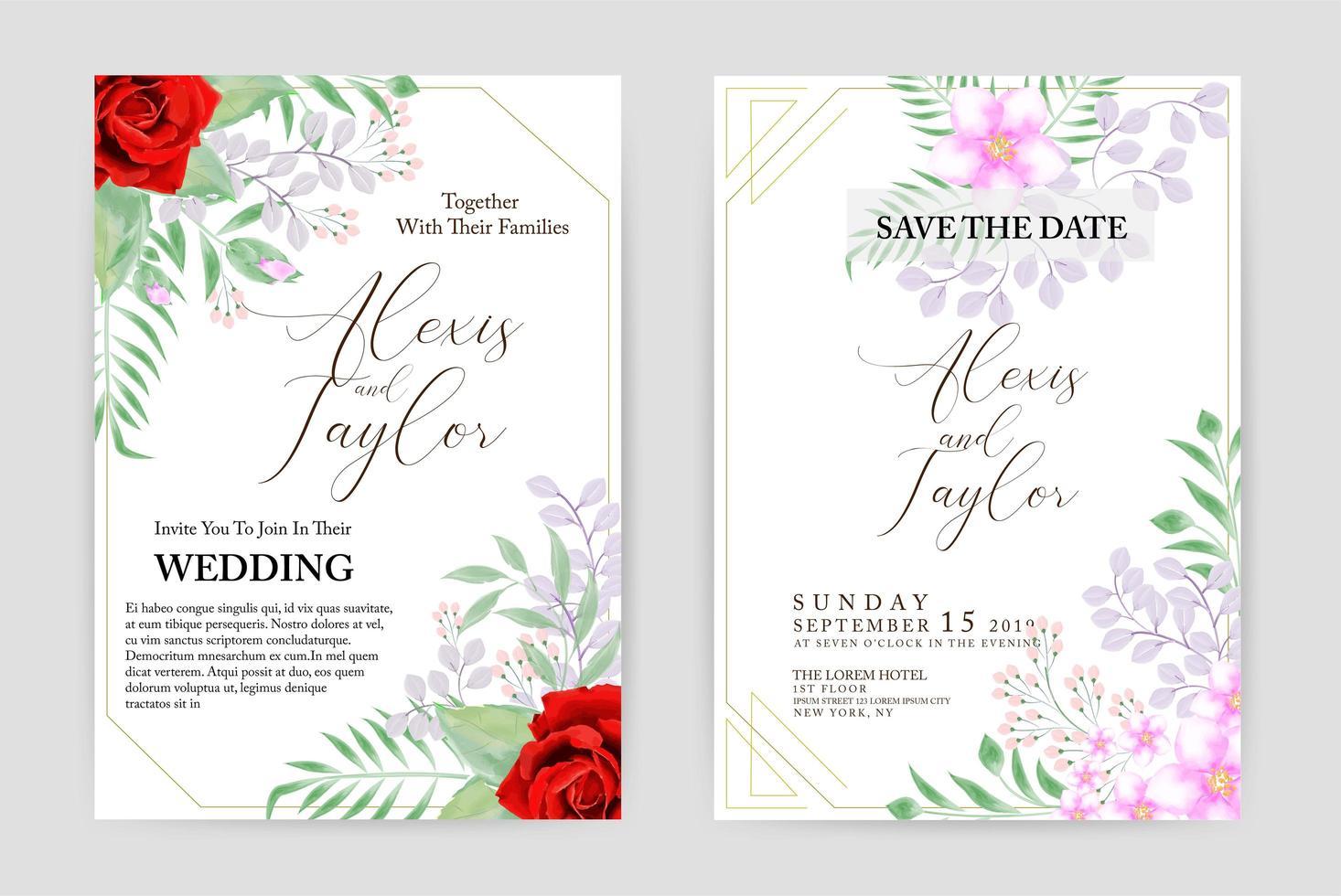 Tarjeta de invitación de boda acuarela con flores rosas y rosas rojas vector