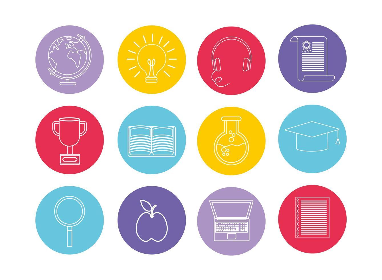 Ensemble d'icônes d'éducation et d'apprentissage vecteur