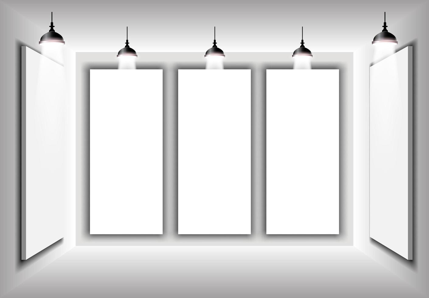Vector de ilustración 3d interior simple, maqueta para su marca degradado gris, fyler, póster