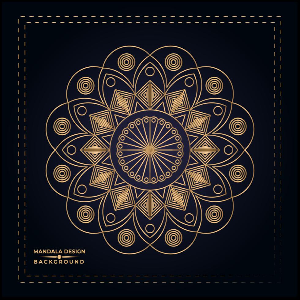 Diseño de fondo floral Golden Mandala vector