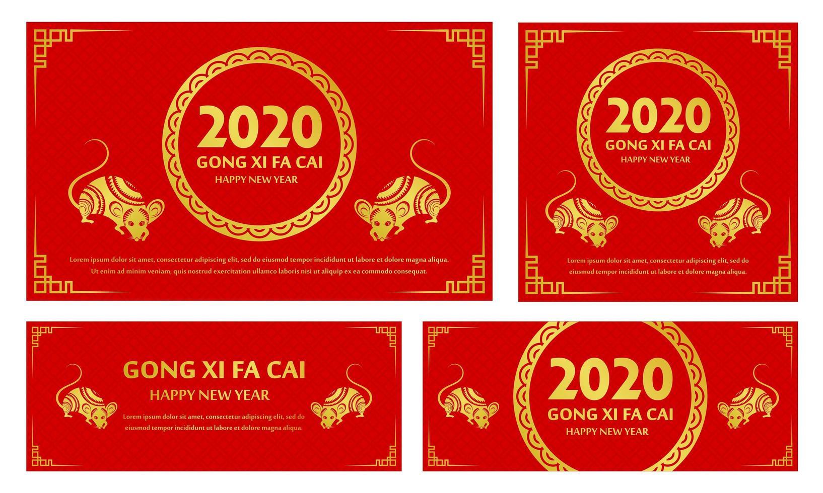 Nuovo anno cinese impostato con segno zodiacale cinese ratto d'oro e 2020 in cornice del cerchio