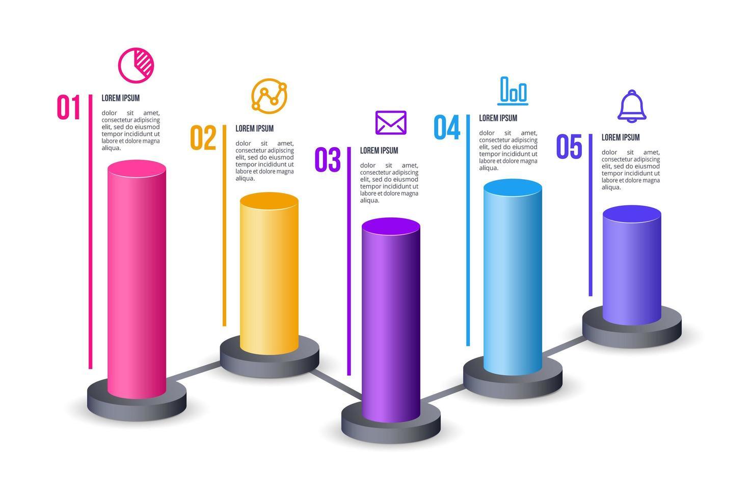 elemento di business infografica con 6 cilindri
