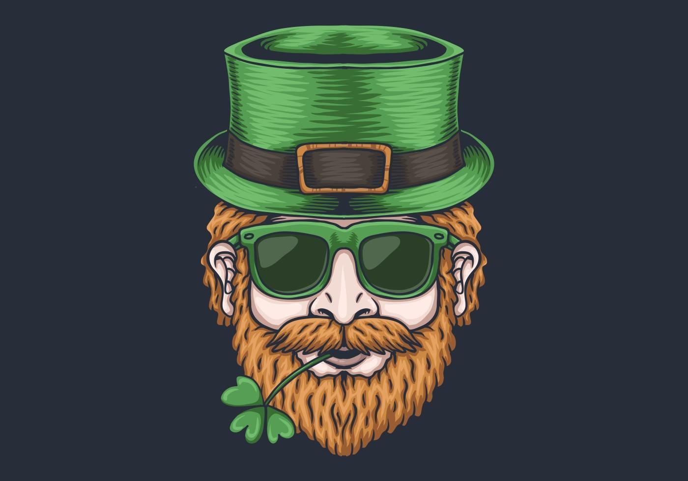 Männerkopf St. Patrick's Day Design vektor