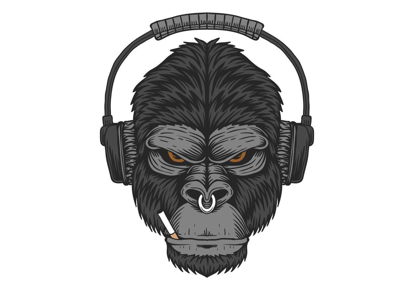 Gorilla headphone cigarette design vector