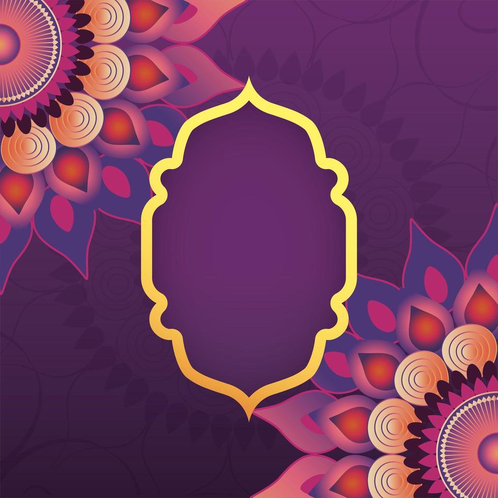 Rahmenemblem mit Mandala blüht dekorative Dekoration vektor