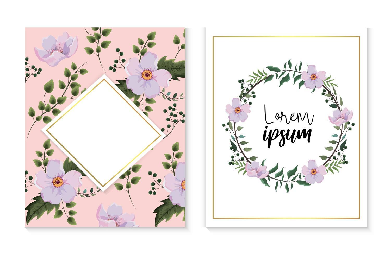 ensemble d'étiquette carte et diamant avec des fleurs et des feuilles de branches vecteur
