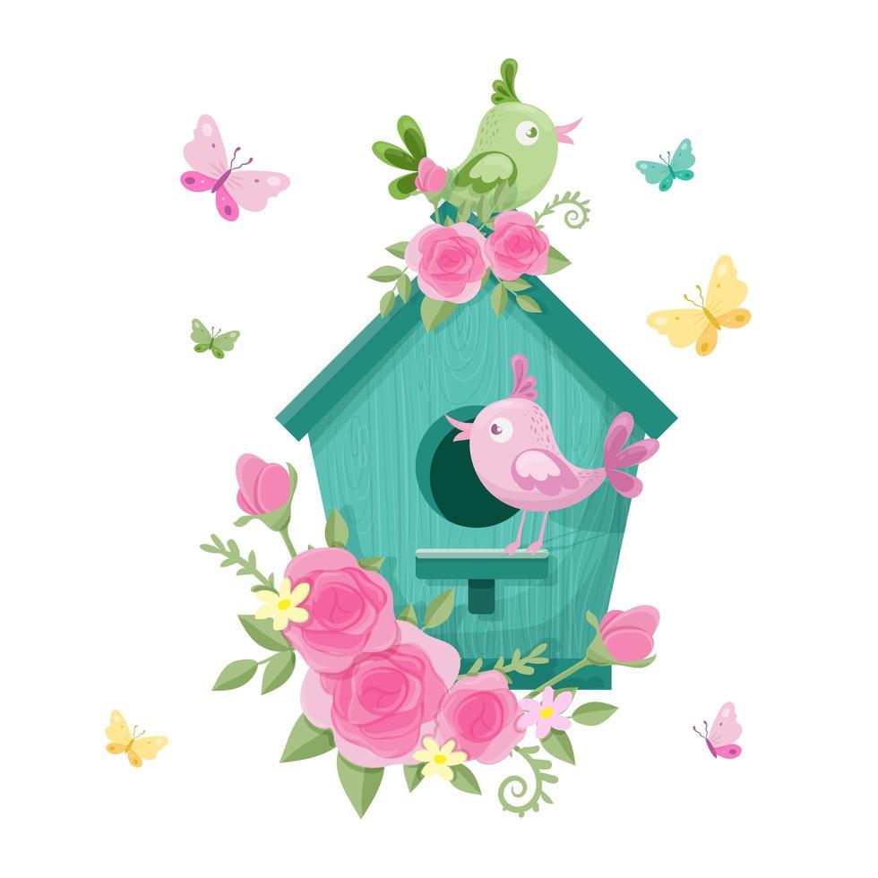 Casa de passarinho dos desenhos animados com pássaros e rosas no dia dos namorados