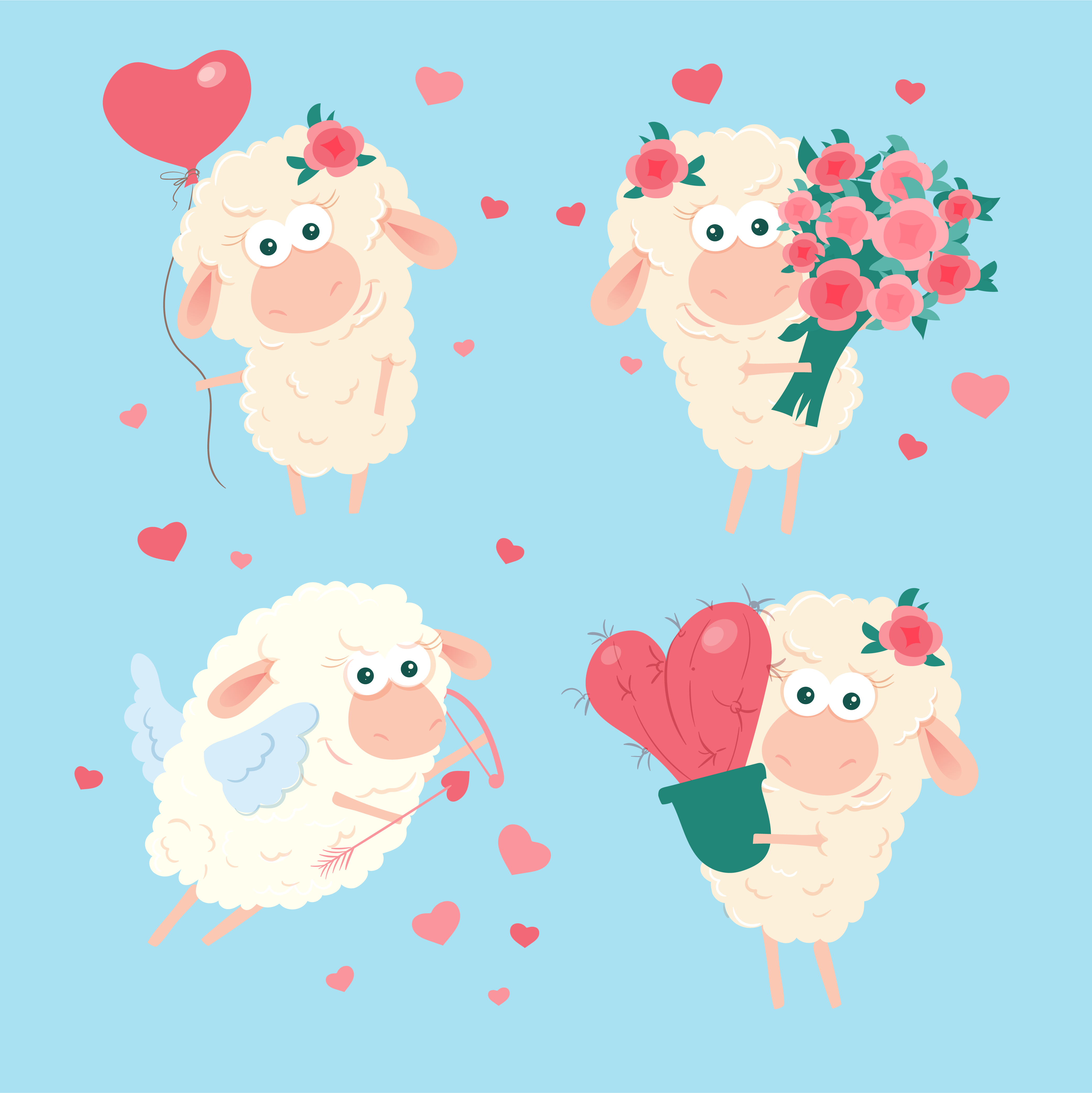 Cartoon Lamb Set For St Valentine S Day Vector Illustration Download Free Vectors Clipart Graphics Vector Art