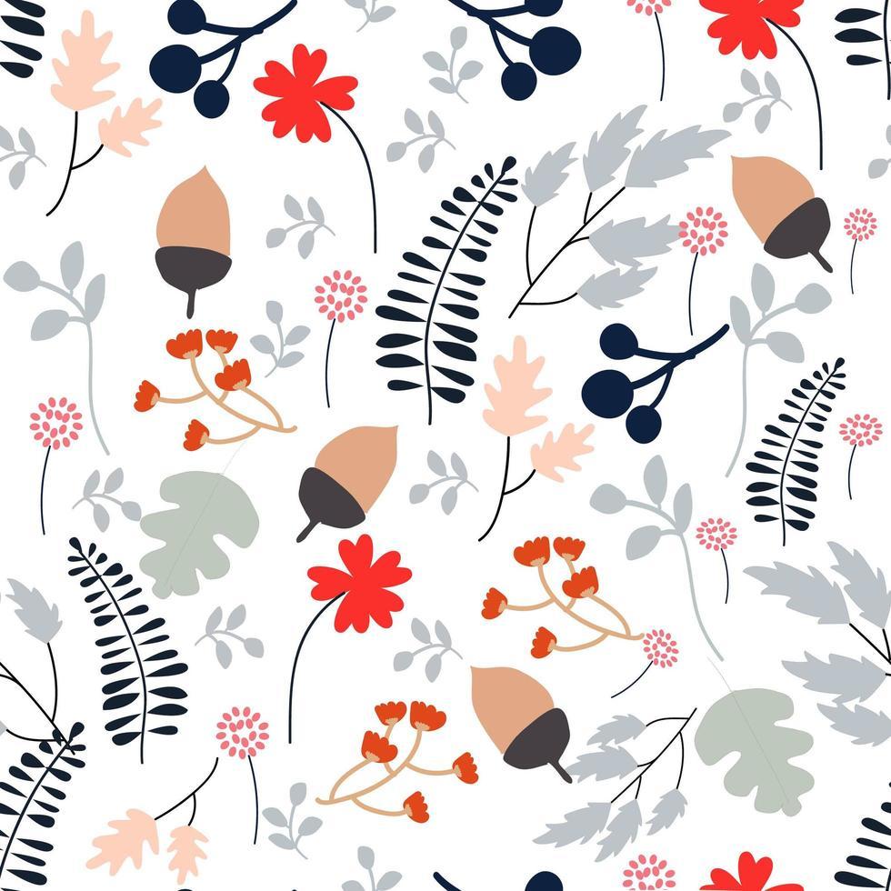 Folhas e flor de primavera selvagem padrão sem emenda vetor