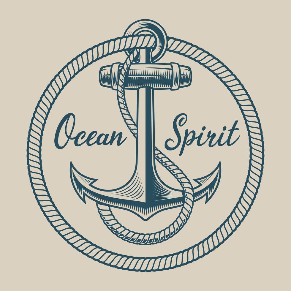 T-shirtontwerp met een anker in vintage stijl vector