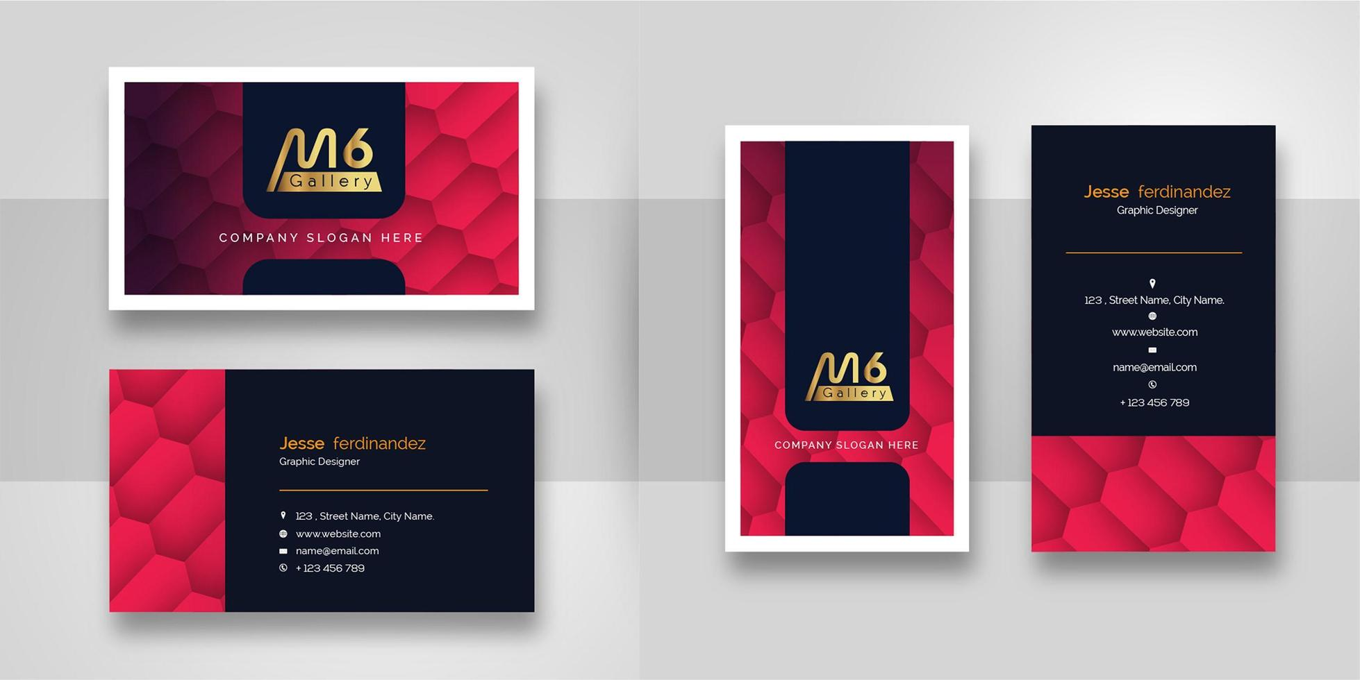 Abstract Red Gradient Business Card Template - Download ...