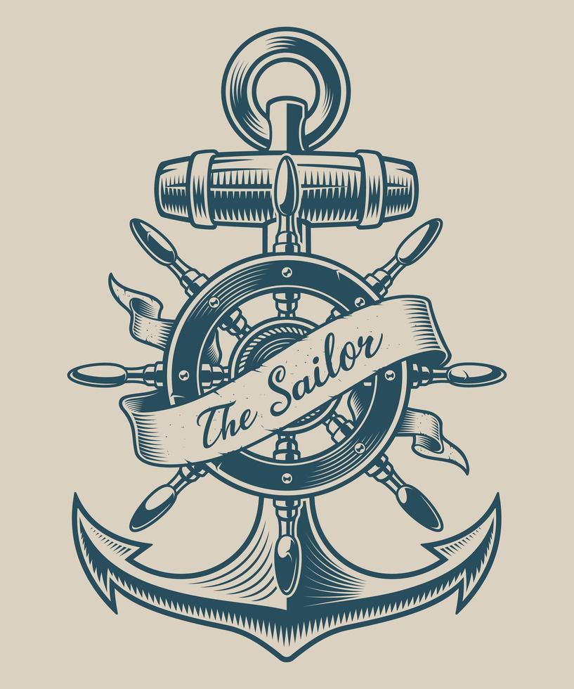 Illustration d'une ancre vintage et d'une roue de navire vecteur