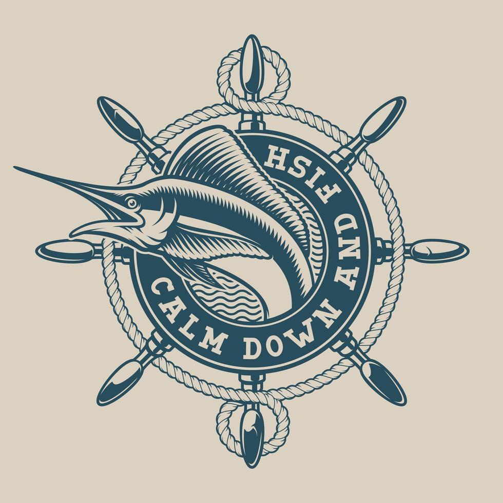 Emblema náutica vintage com uma roda de marlin e navio vetor