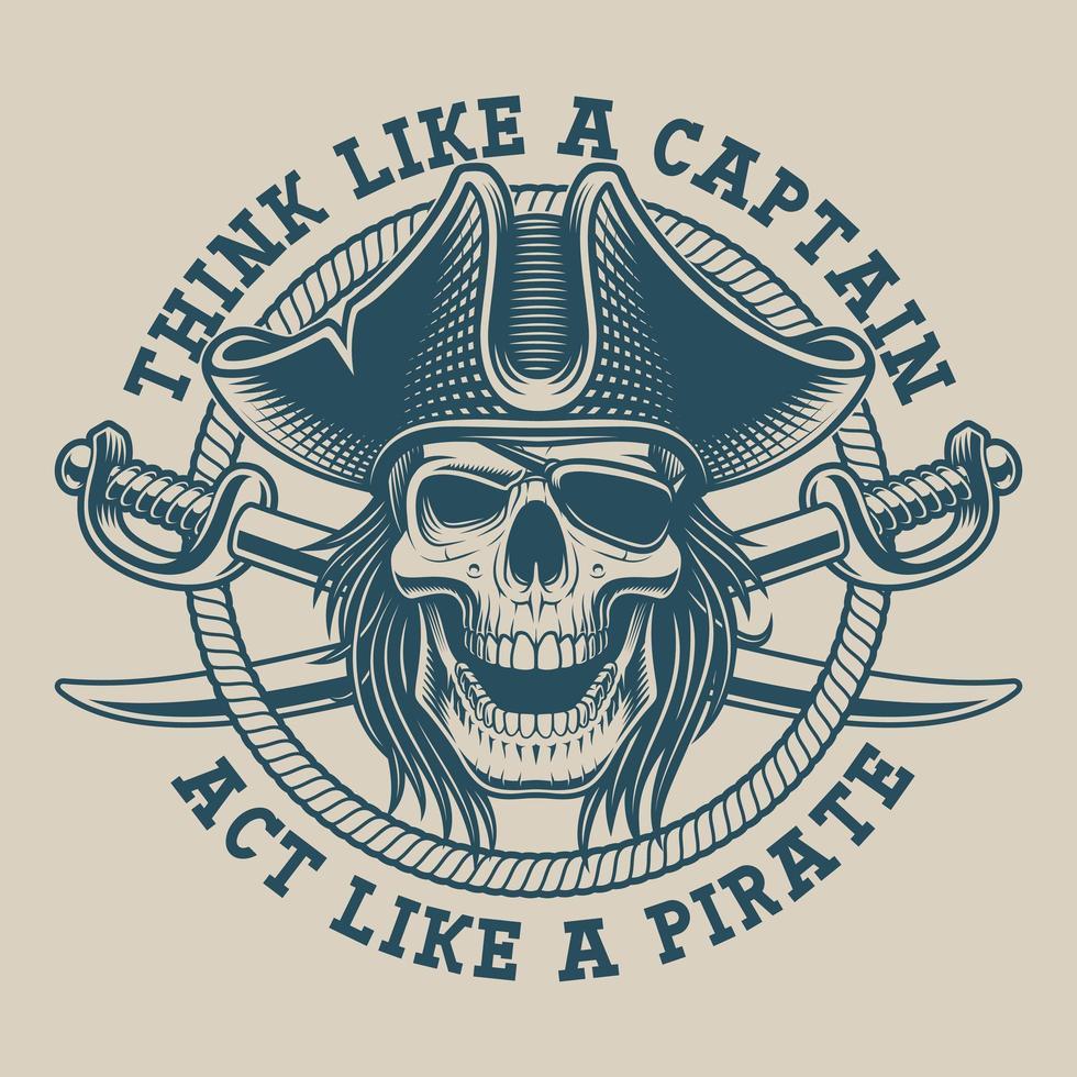 Design de camiseta com caveira pirata e sabre vetor