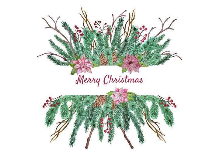 Christmas floral arrangement vector