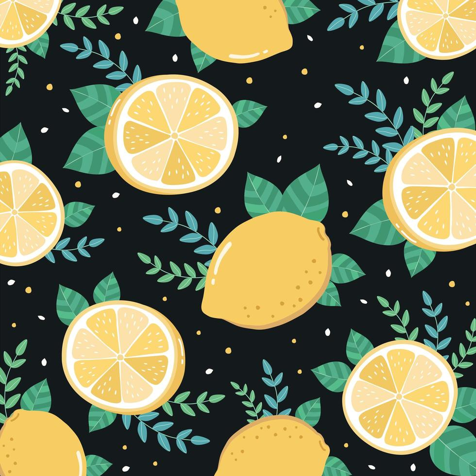 Citron frais tranché et motif de feuilles vecteur