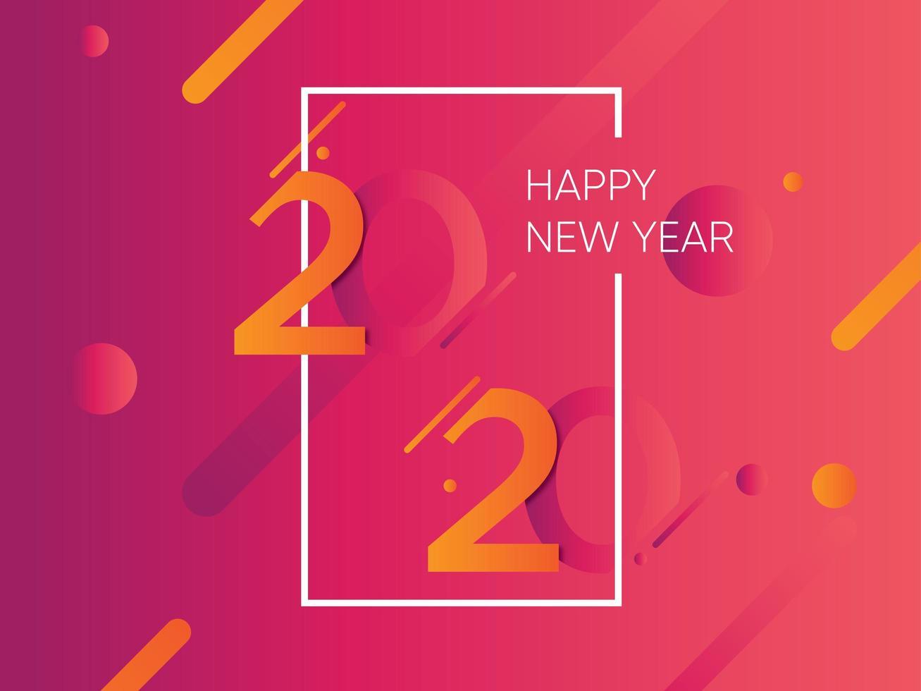 Sfondo rosa e arancione del nuovo anno 2020 con cornice bianca vettore