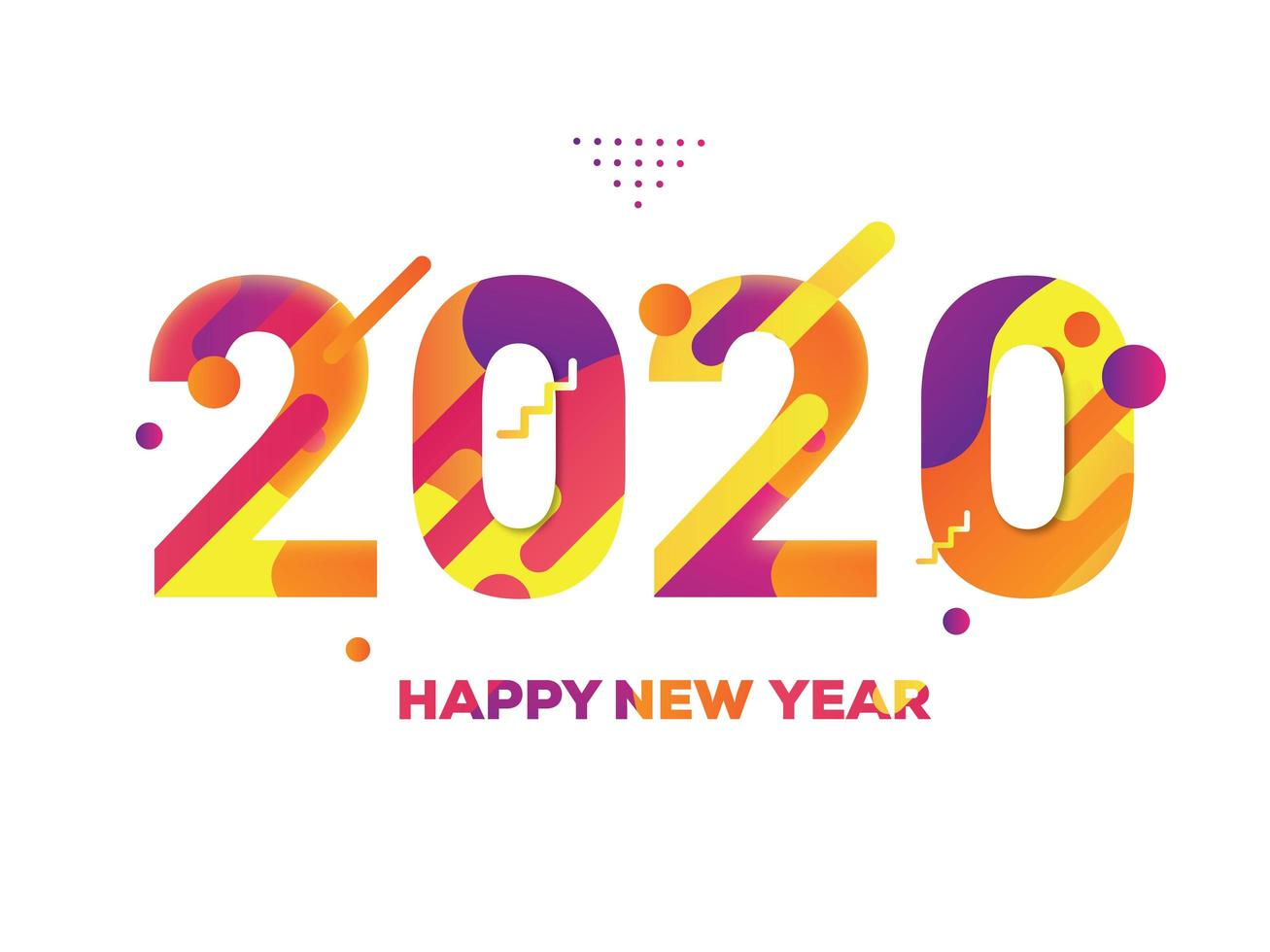 Colorful New Year 2020 Text White Background vector