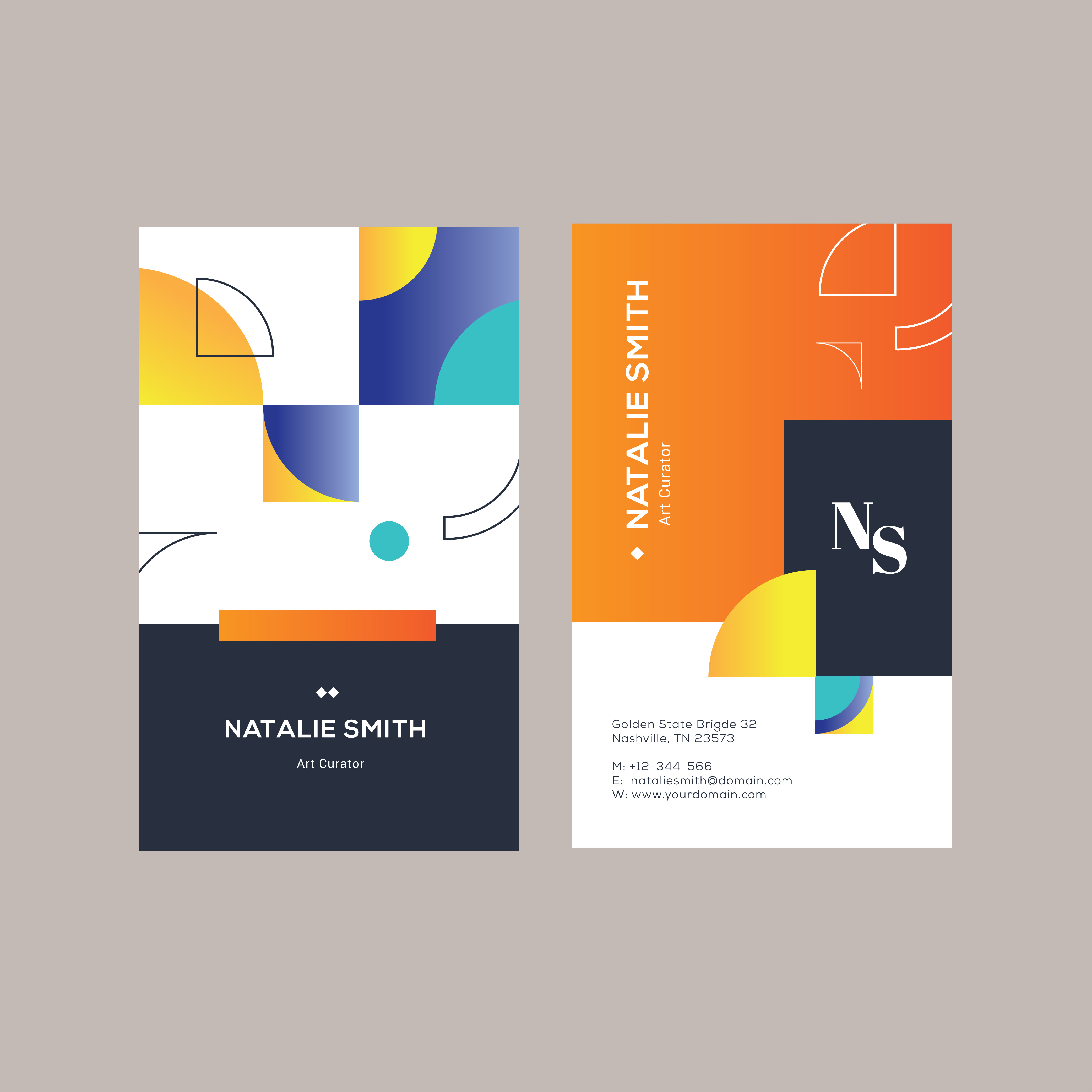 vertical modern name card minimalist abstract design