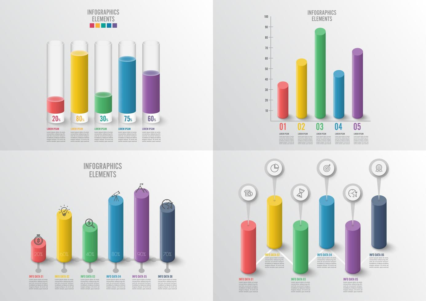 Graphs and charts set. Infographic business concept with 4, 5 options vector