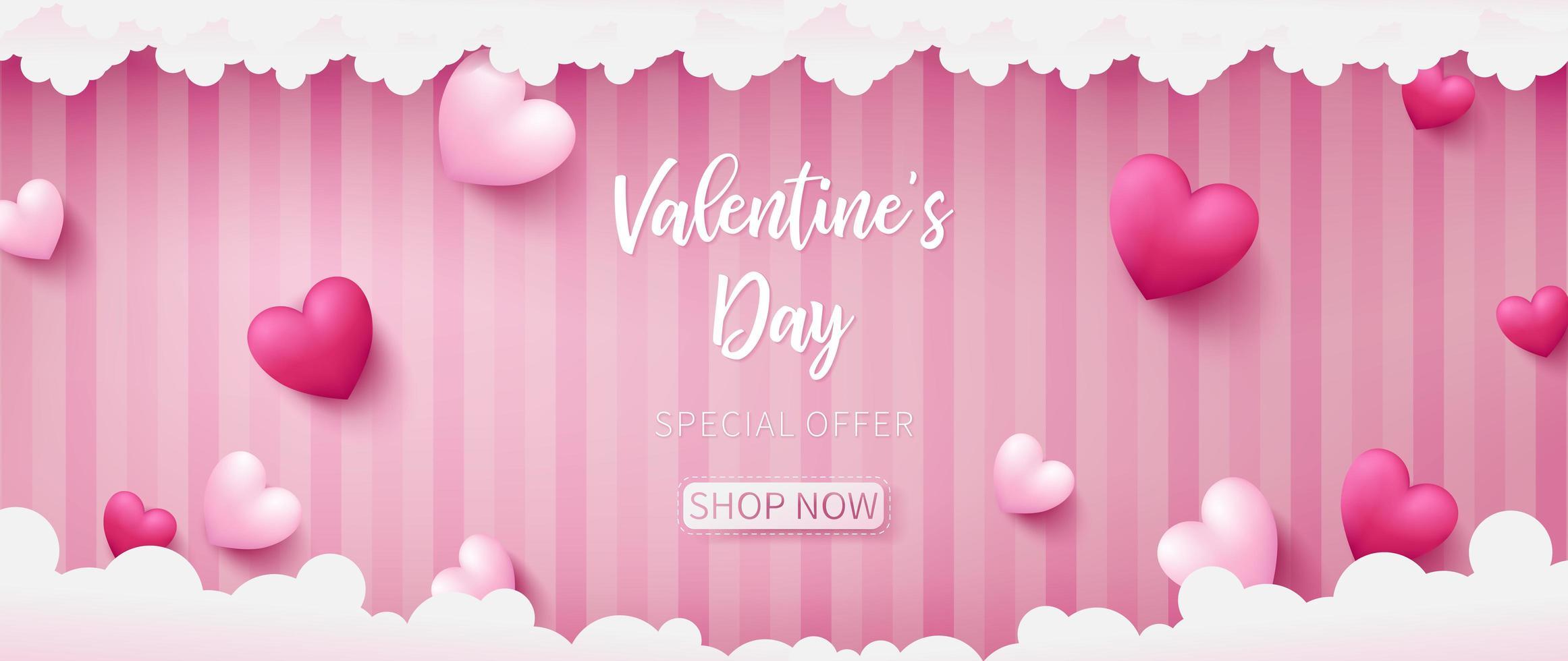 Banner di San Valentino composto da due colori di tono dei cuori
