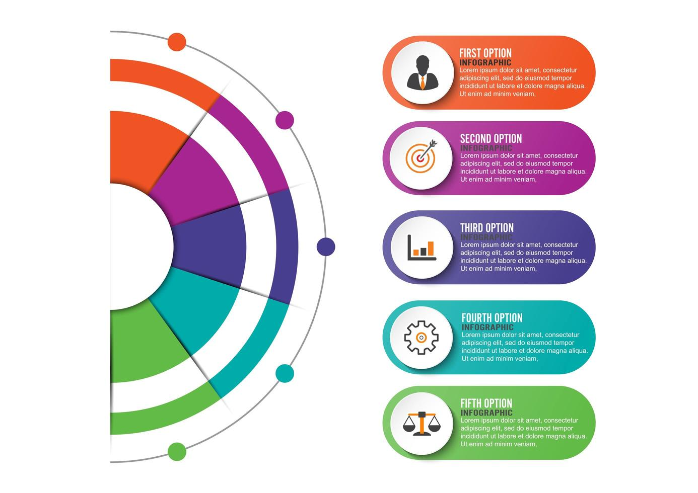 infographics and marketing icons with 5 options, steps or processes. vector