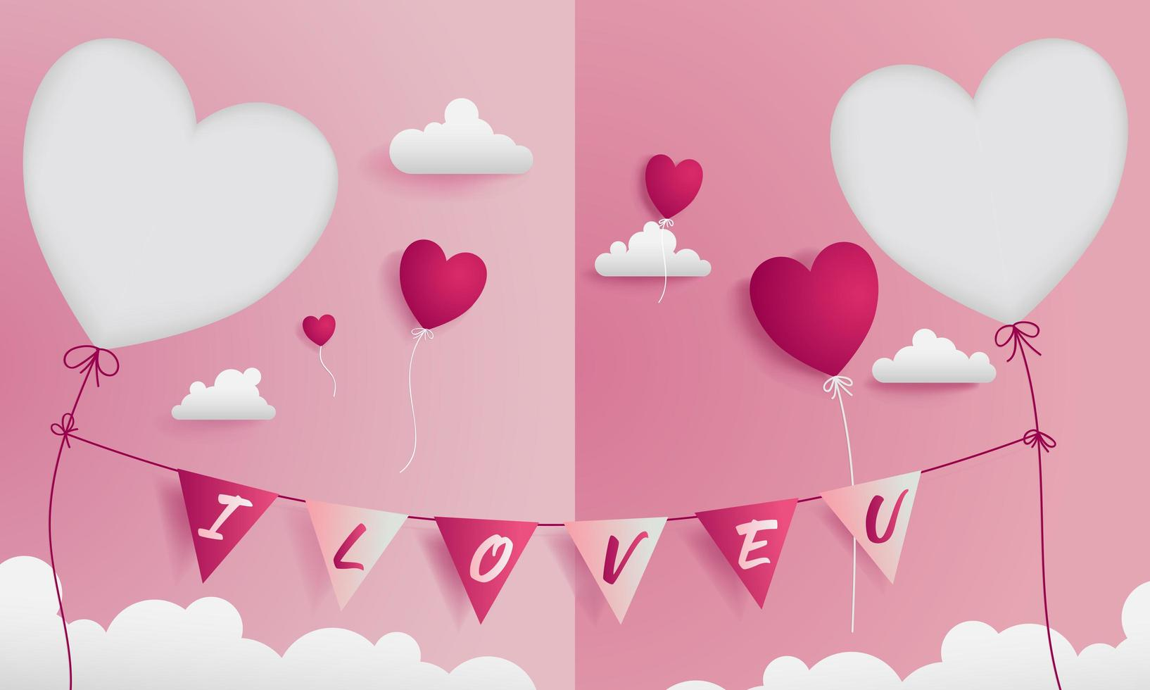 Valentine greeting card with paper craft style vector