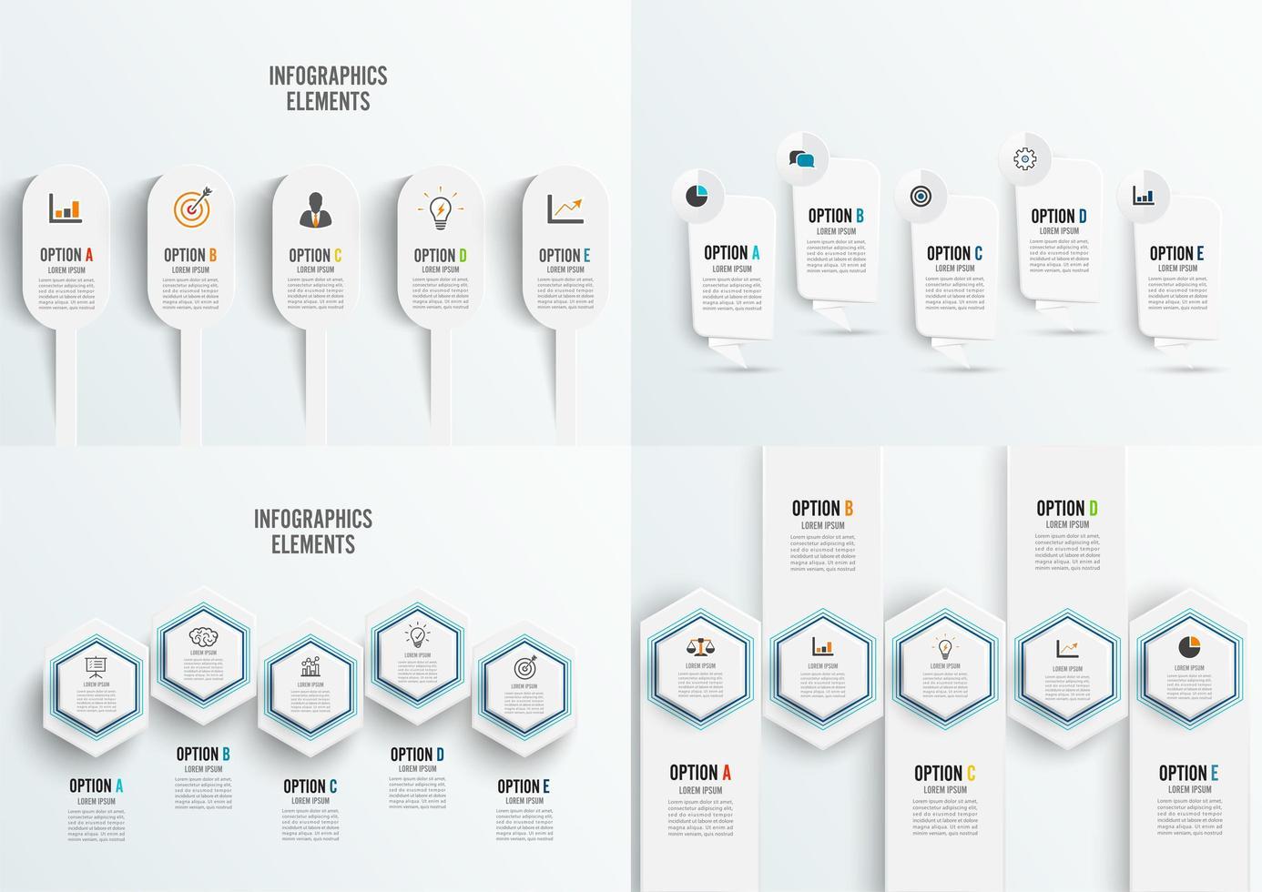 Definir modelo de infográfico de 5 opções com etiquetas de papel 3D, círculos integrados vetor
