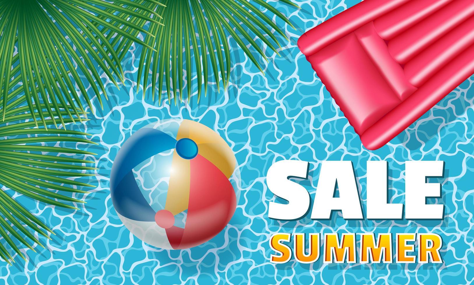 Försäljning sommarbanner med uppblåsbar boll och madrass vektor