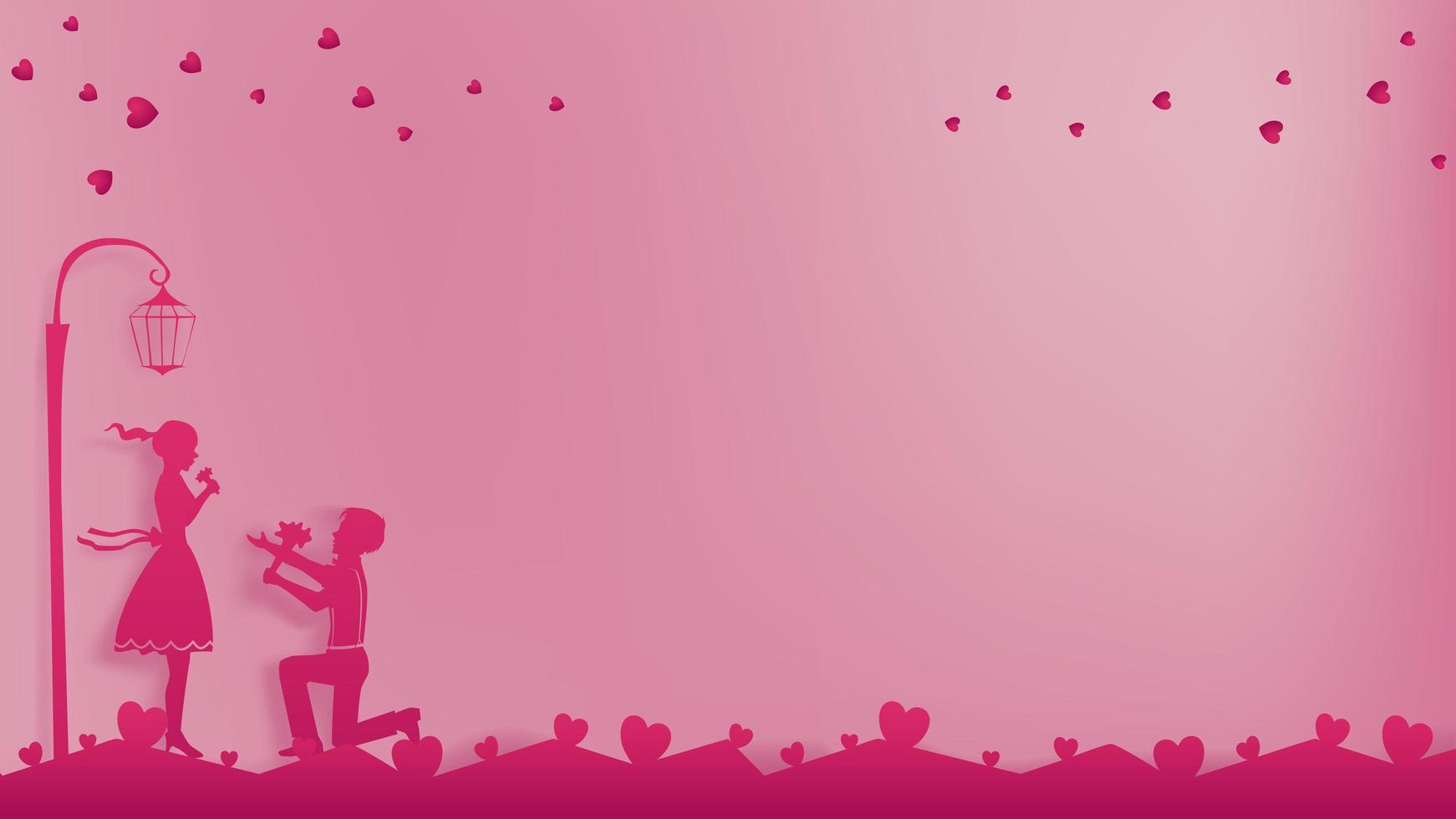 Romantic paper art concept of love couple vector