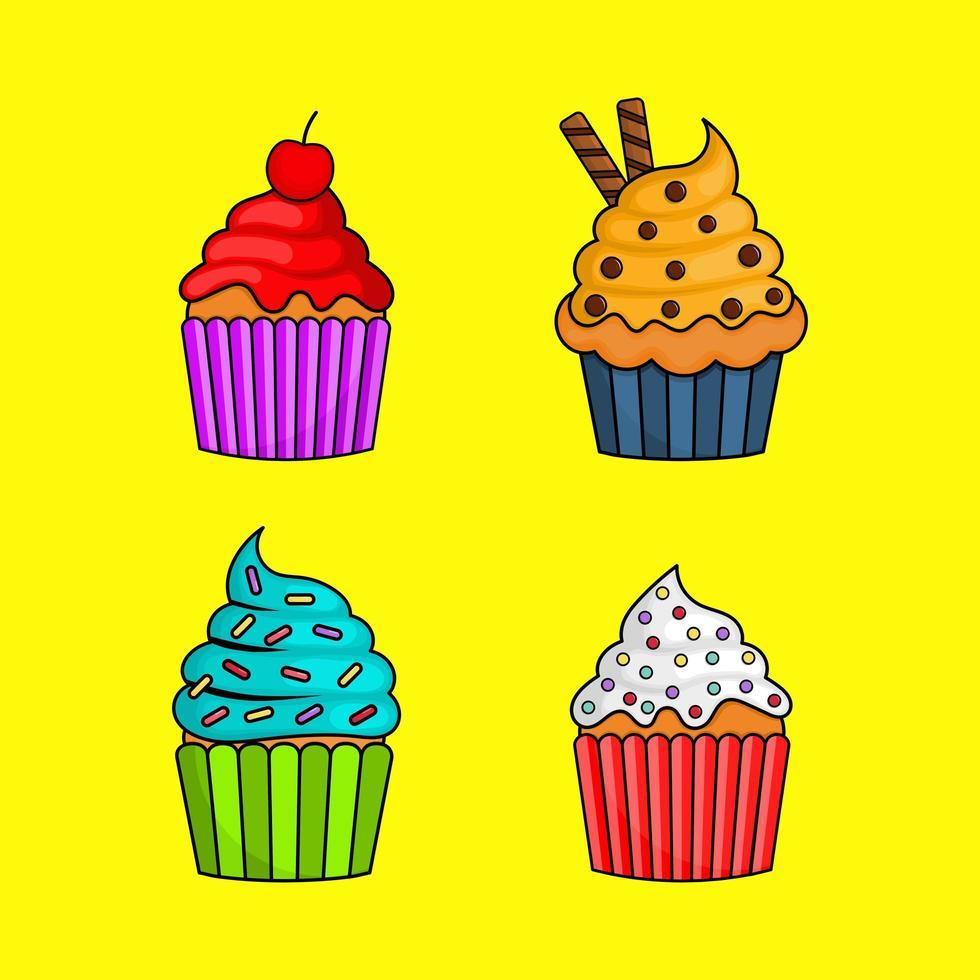 Kawaii schattige pastel cupcake zoete zomer desserts met verschillende soorten vector