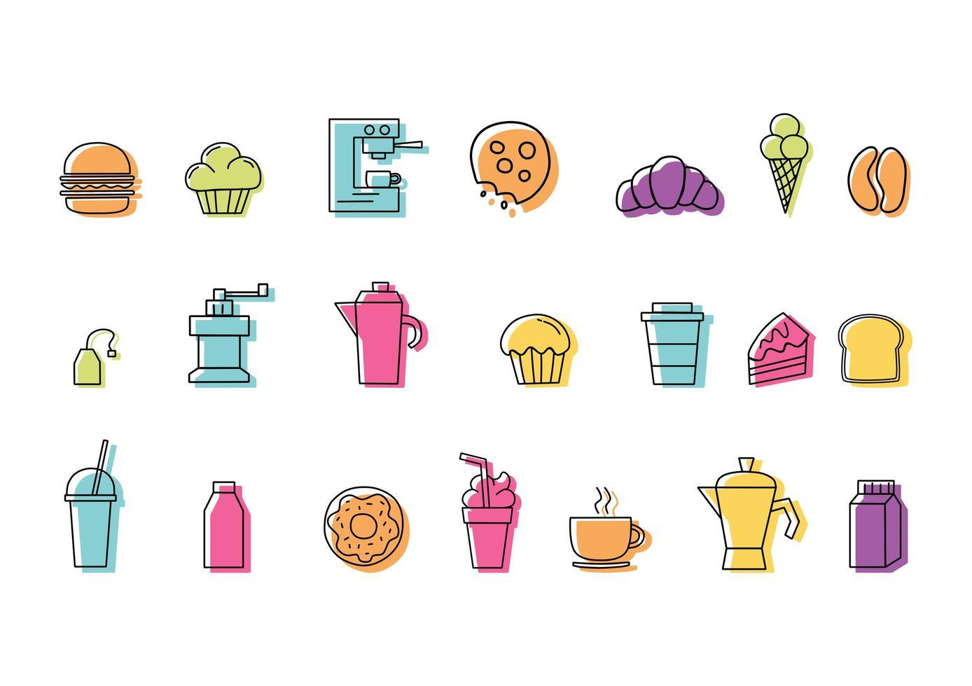 Uppsättning av linjära färgglada mat- och dryckesymboler för kafé vektor