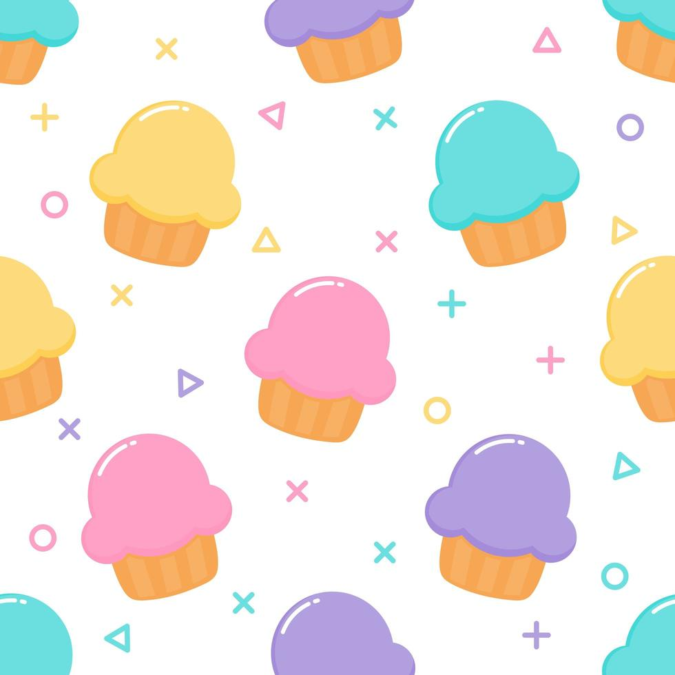 kawaii Söt Pastell Cupcake Söta sommardesserter Seamless mönster vektor